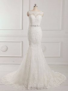 White Sleeveless Brush Train Beading and Lace and Appliques Wedding Gown