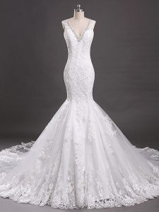 Enchanting White V-neck Neckline Beading and Lace Wedding Gown Sleeveless Clasp Handle