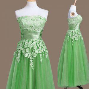 Adorable Green Sleeveless Appliques Tea Length Bridesmaid Gown