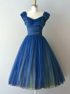 Cap Sleeves Knee Length Ruching Lace Up Bridesmaid Dresses with Blue