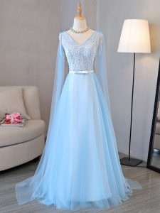 Tulle Long Sleeves Prom Party Dress and Beading and Belt