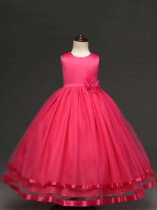 Cute Hot Pink Tulle Zipper Scoop Sleeveless Floor Length Flower Girl Dress Hand Made Flower