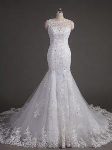 New Arrival White Ball Gowns Scoop Sleeveless Tulle Brush Train Backless Lace Bridal Gown