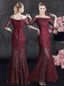 Eye-catching Wine Red Mermaid Lace Off The Shoulder Half Sleeves Lace Floor Length Lace Up Mother Of The Bride Dress