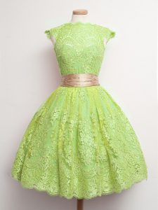 Yellow Green Lace Up Dama Dress for Quinceanera Belt Cap Sleeves Knee Length