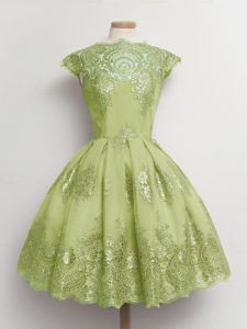 Knee Length Yellow Green Bridesmaid Dresses Tulle Cap Sleeves Lace