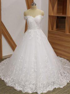 Superior White Sleeveless Lace Zipper Wedding Dress