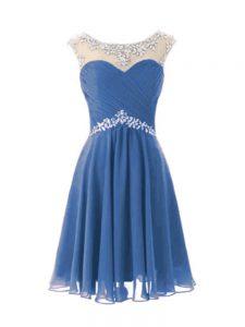 Customized Blue Cap Sleeves Knee Length Beading Zipper Cocktail Dresses