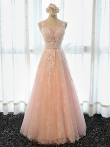 Peach Scoop Lace Up Appliques Sleeveless
