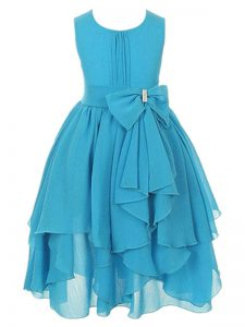 Asymmetrical Zipper Little Girl Pageant Gowns Aqua Blue for Wedding Party with Ruffles and Bowknot