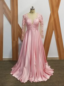 Best Long Sleeves Elastic Woven Satin Backless Mother Of The Bride Dress in Baby Pink with Beading and Appliques