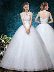 White Sleeveless Beading and Appliques and Embroidery Floor Length Wedding Gowns
