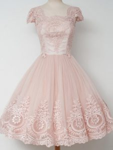 Knee Length Zipper Quinceanera Court of Honor Dress Peach for Prom and Party and Wedding Party with Lace