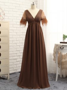 Brown Sleeveless Floor Length Beading and Ruching Zipper Mother Of The Bride Dress