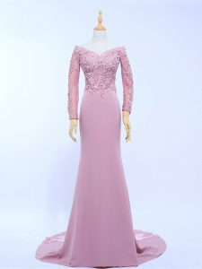 Pretty Long Sleeves Chiffon Brush Train Zipper Mother Of The Bride Dress in Lilac with Lace and Appliques
