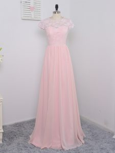 Baby Pink Empire Scoop Cap Sleeves Chiffon Floor Length Zipper Lace Wedding Party Dress