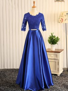 Inexpensive Blue Half Sleeves Floor Length Embroidery and Belt Zipper Homecoming Dress