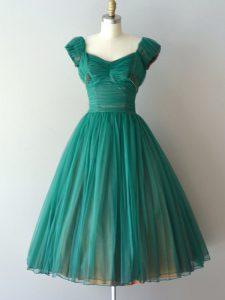Popular Teal Zipper Wedding Guest Dresses Ruching Cap Sleeves Knee Length