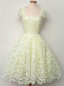 Traditional Yellow Lace Lace Up Straps Cap Sleeves Knee Length Bridesmaids Dress Lace