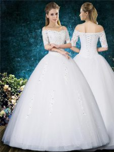 White Ball Gowns Beading and Appliques and Embroidery Bridal Gown Lace Up Tulle Half Sleeves Floor Length