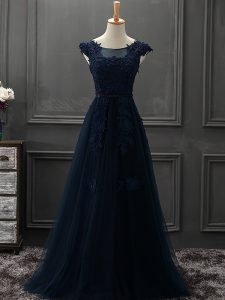 Scoop Sleeveless Lace Up Evening Dress Navy Blue Tulle