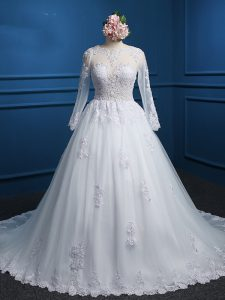White Ball Gowns Scoop Long Sleeves Tulle Court Train Zipper Lace and Appliques Wedding Dress