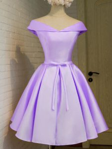 Super Lavender Cap Sleeves Knee Length Belt Lace Up Bridesmaids Dress
