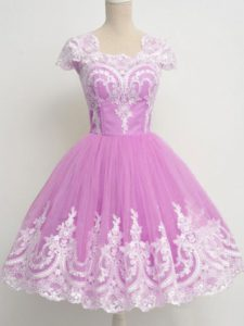 Lilac Cap Sleeves Lace Knee Length Dama Dress for Quinceanera