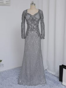 On Sale Grey Long Sleeves Floor Length Beading and Lace Zipper Mother Of The Bride Dress