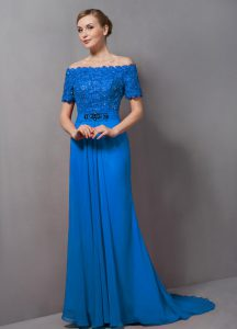 Nice Blue Mother Of The Bride Dress Prom and Party with Lace Off The Shoulder Short Sleeves Sweep Train Zipper