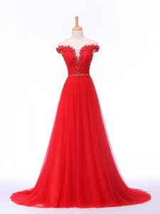 Suitable Tulle Sleeveless Formal Dresses Brush Train and Lace and Appliques