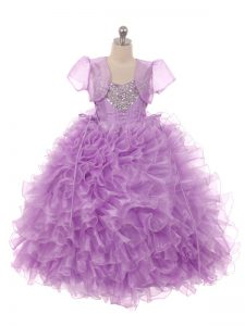 Eggplant Purple Organza Lace Up Straps Sleeveless Floor Length Kids Formal Wear Beading and Ruffles
