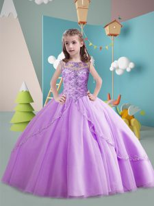 Custom Design Sleeveless Tulle Brush Train Lace Up Kids Formal Wear in Lavender with Beading