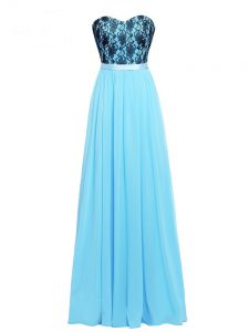 Sleeveless Chiffon Floor Length Zipper Hoco Dress in Aqua Blue with Lace and Appliques