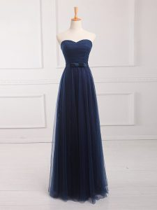 Navy Blue Sleeveless Belt Floor Length Vestidos de Damas