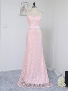 Baby Pink Column/Sheath Lace Sweetheart Sleeveless Lace Floor Length Zipper Quinceanera Dama Dress