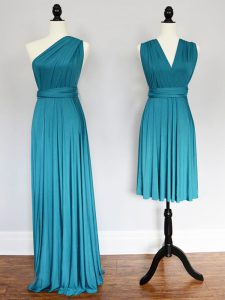 High Class Floor Length Teal Vestidos de Damas Chiffon Sleeveless Ruching