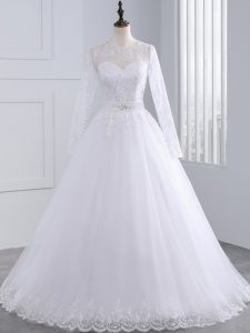 High End Lace and Appliques Wedding Dress White Zipper Long Sleeves Brush Train