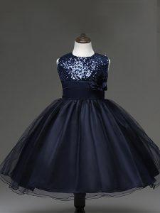 Navy Blue Sleeveless Knee Length Sequins and Hand Made Flower Zipper Girls Pageant Dresses
