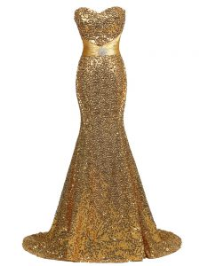 Gold Lace Up Evening Outfits Sequins Sleeveless Brush Train