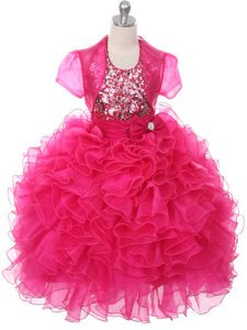 Fashionable Hot Pink Lace Up Scoop Ruffles and Sequins and Bowknot Little Girl Pageant Gowns Organza Sleeveless