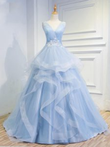 Latest Light Blue Sleeveless Tulle Brush Train Lace Up Prom Party Dress for Prom and Party