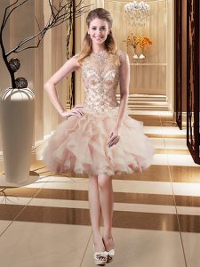 Designer Peach Scoop Lace Up Beading Prom Gown Sleeveless