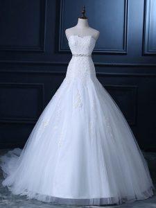 Mermaid Sleeveless White Wedding Dress Court Train Lace Up