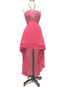 High Low Empire Sleeveless Hot Pink Homecoming Dress Backless