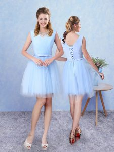 Fine Knee Length Lace Up Quinceanera Dama Dress Aqua Blue for Prom and Party with Ruching