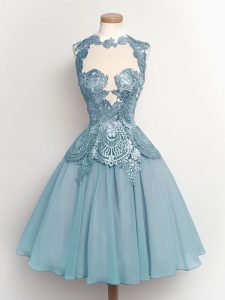 Vintage Chiffon Sleeveless Knee Length Dama Dress for Quinceanera and Lace