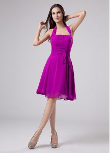 Attractive Sleeveless Knee Length Ruching Zipper Mother Of The Bride Dress with Purple