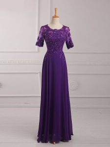 Purple Chiffon Zipper Mother Of The Bride Dress Half Sleeves Floor Length Lace and Appliques