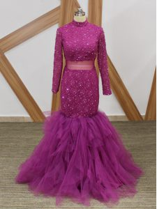 Elegant Fuchsia High-neck Zipper Lace and Ruffles Mother Of The Bride Dress Long Sleeves